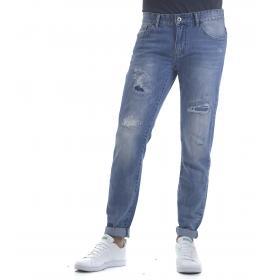 Pantaloni Jeans da uomo effetto consumato denim 5 tasche