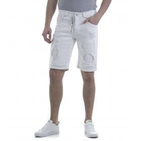 Pantaloncino bermuda da uomo 5 tasche con strappi e toppe bianco