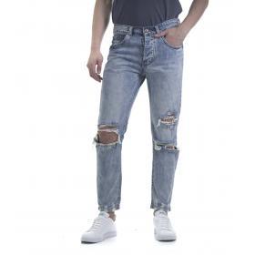 Pantaloni Jeans da uomo con strappi denim 5 tasche
