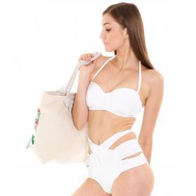 Costume bikini mare da donna vita alta con ferretto e coppe imbottite