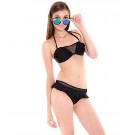 Costume mare da donna bikini tinta unita 2 pezzi brasiliana con volant