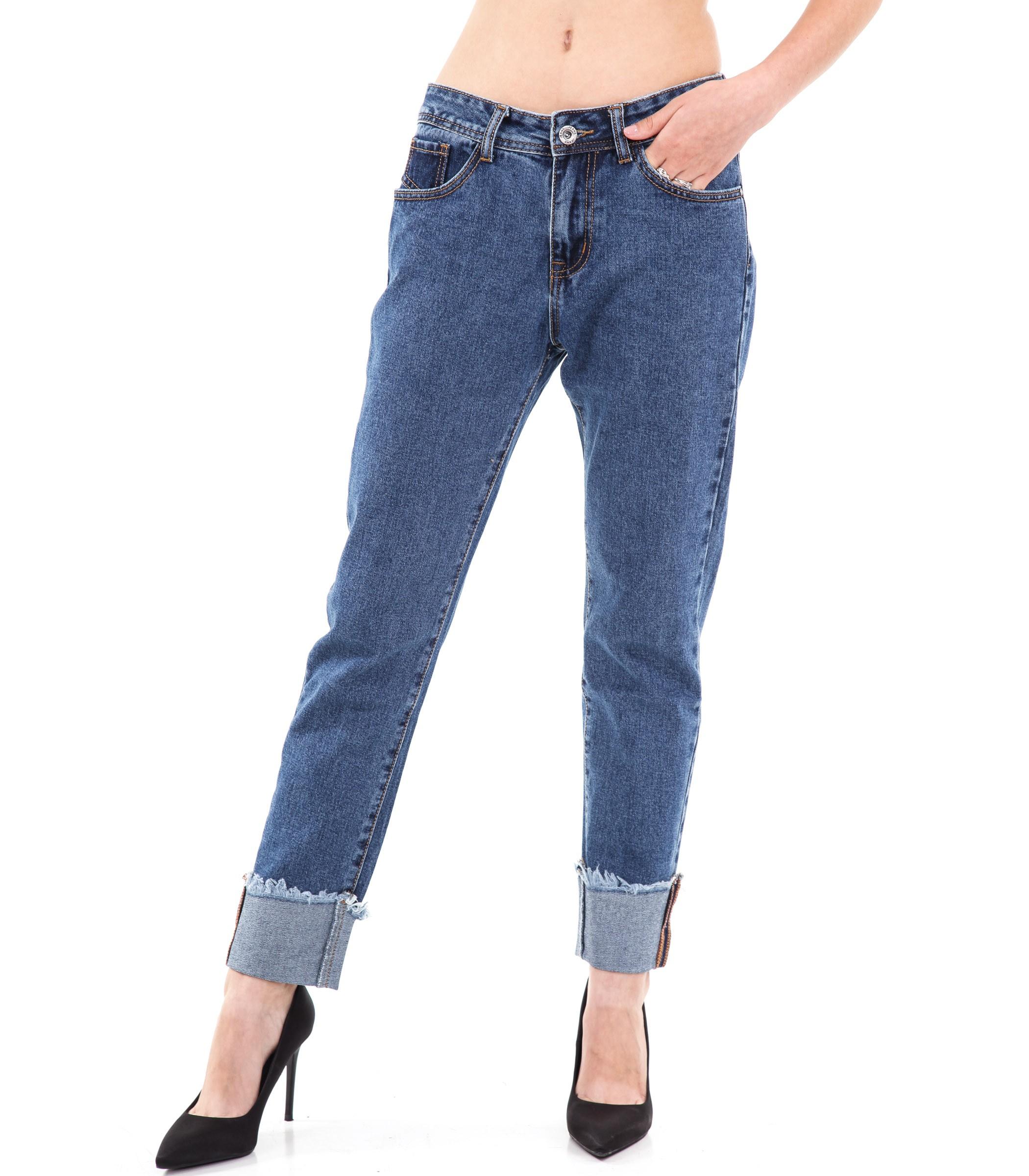 Pantaloni Slim Orlo Donna Jeans Sfilacciato Tasche Fit Da 5 Con rqTraRn