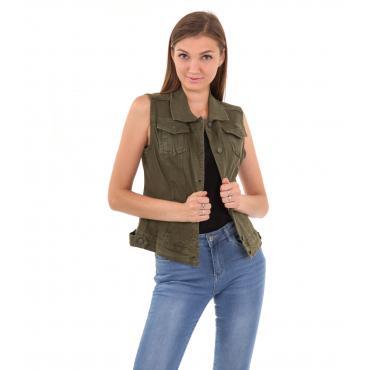 Giubbotto smanicato di jeans in tessuto denim da donna