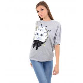 T-shirt da donna con maniche a pipistrello e stampa