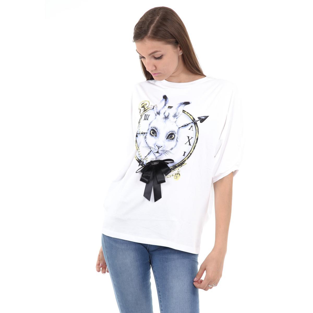 T-shirt con maniche pipistrello e stampa da donna