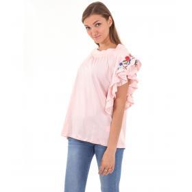 T-shirt da donna con volant e ricami floreali su maniche
