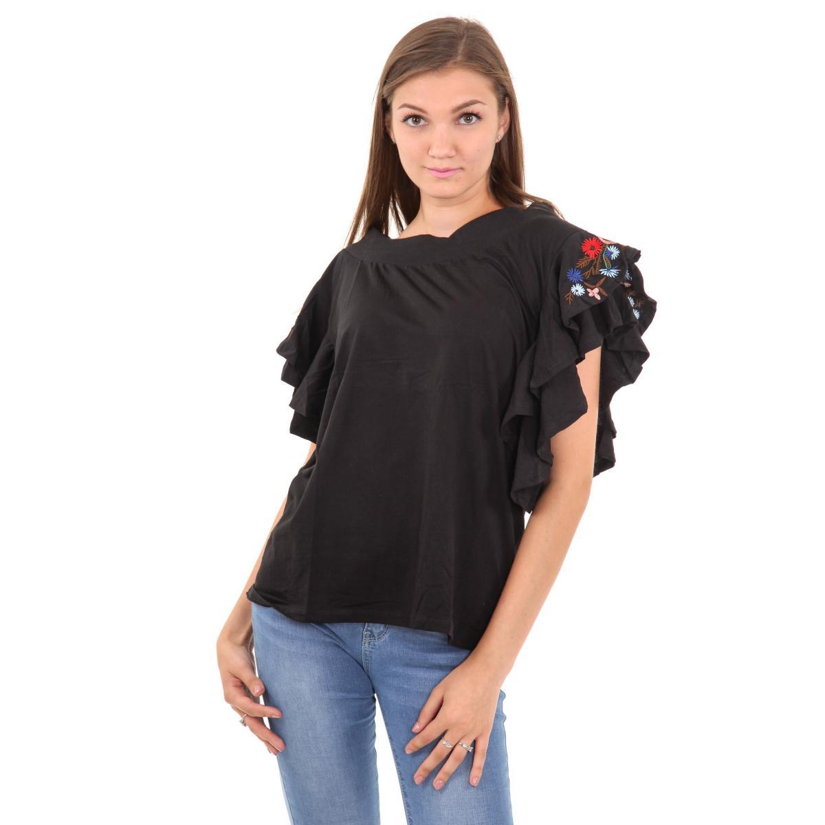 T-shirt con volant con ricami floreali da donna