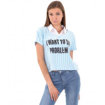 T-shirt da donna fantasia a righe e stampa con finto colletto camicia