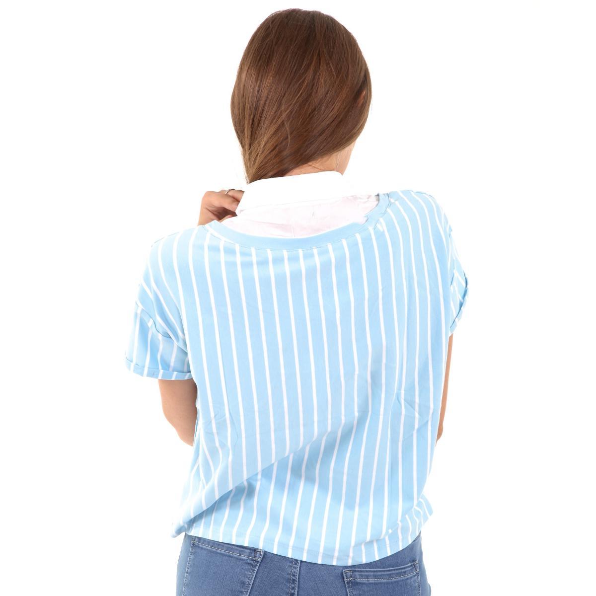 T-shirt con colletto finto camicia da donna