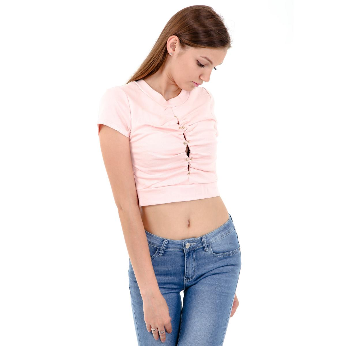T-shirt corta con finta apertura e bottoncini da donna