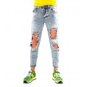 Pantaloni Jeans da uomo con strappi denim chiaro 5 tasche