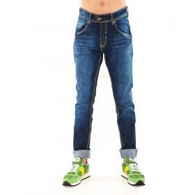 "Pantaloni jeans ""RumJungle"" da uomo slim fit cinque tasche con cuciture verdi"