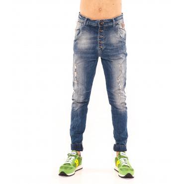 """Pantaloni Jeans """"RumJungle"""" da uomo cinque tasche con elastici alle caviglie"""