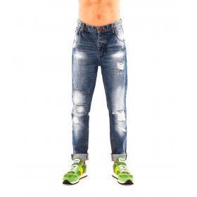"""Pantaloni Jeans """"RumJungle"""" da uomo con finte toppe e strappi"""