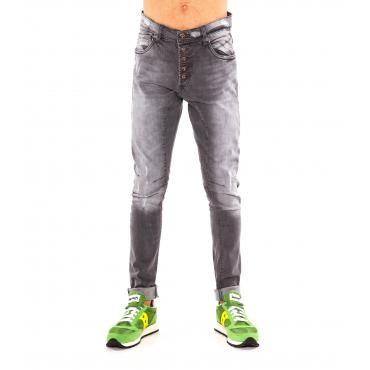 """Pantaloni Jeans """"RumJungle"""" da uomo cinque tasche con bottoni a vista"""
