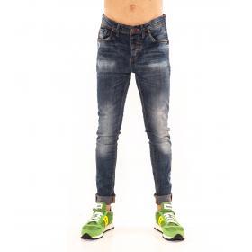 """Pantaloni Jeans """"RumJungle"""" da uomo cinque tasche skinny fit effetto consumato"""