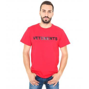 """T-shirt """"Vetements"""" girocollo da uomo con stampa anteriore e posteriore Rif. V001"""