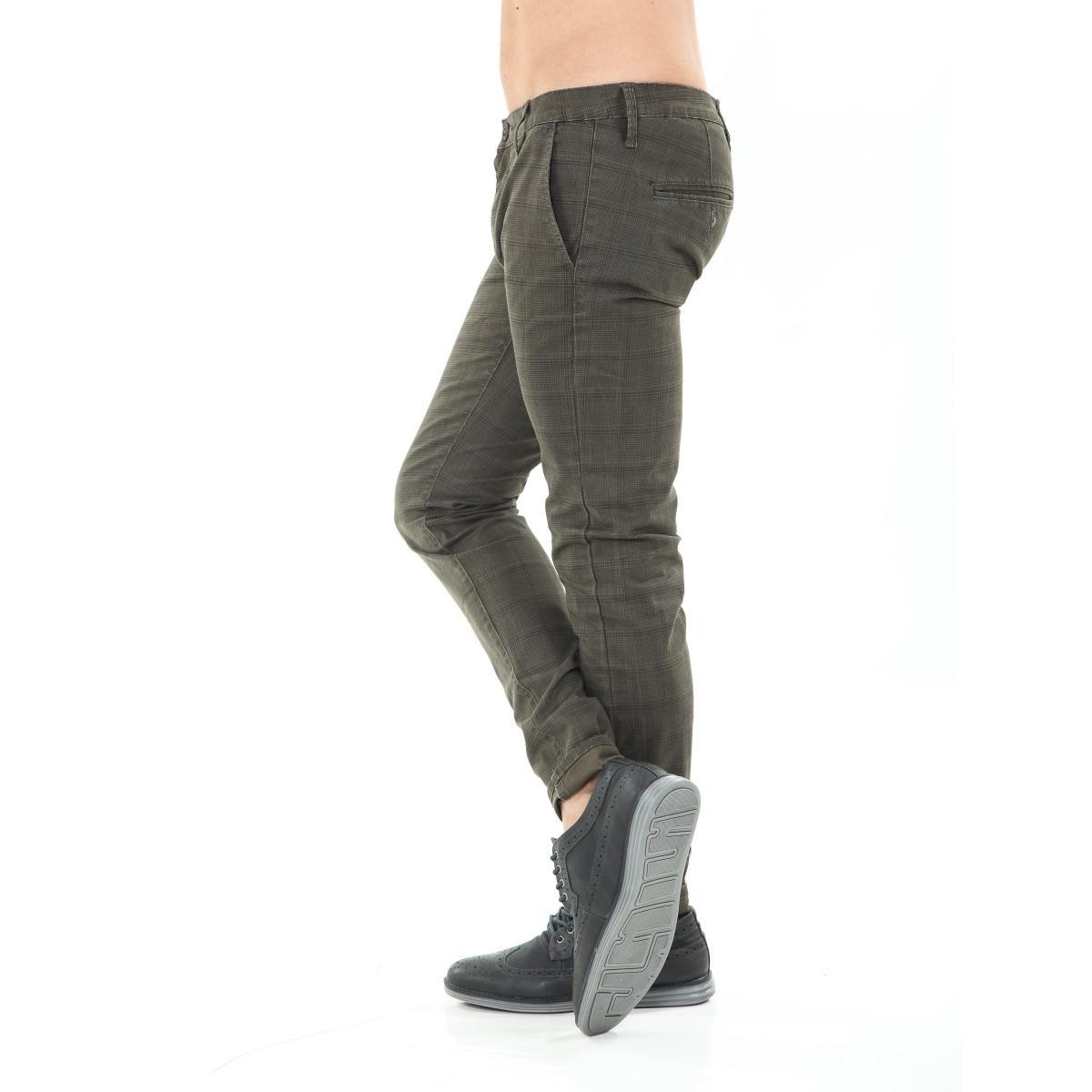 Pantaloni da uomo chinos a quadri in cotone elasticizzato