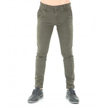 Pantaloni da uomo chinos fantasia spigato in cotone elasticizzato