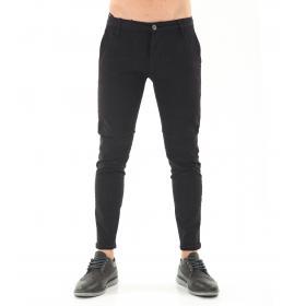 Pantaloni da uomo chinos Nero tasche america in cotone elasticizzato