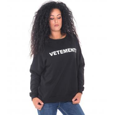 """Felpa """"Vetements"""" girocollo con stampa anteriore e posteriore da donna Rif. V089"""