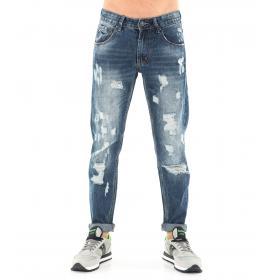 Pantaloni Jeans da uomo Denim blue 5 tasche effetto consumato con strappi