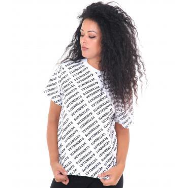 """T-shirt """"Vetements"""" girocollo da donna con stampe logo Rif. V053"""