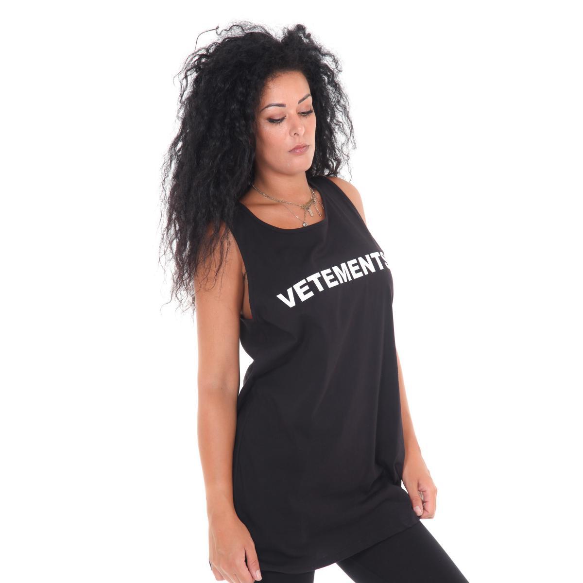 "Canotta ""Vetements"" da donna lunga con stampe Rif. V056 www.montorostore.it"