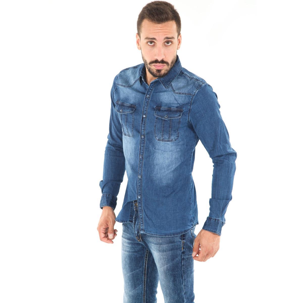 Camicia da uomo di jeans a maniche lunghe con taschini