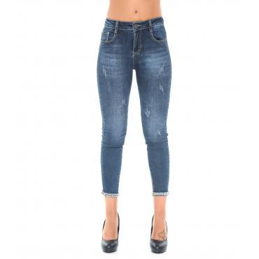 Pantaloni Jeans da donna 5 tasche modello Capri con strass alle caviglie