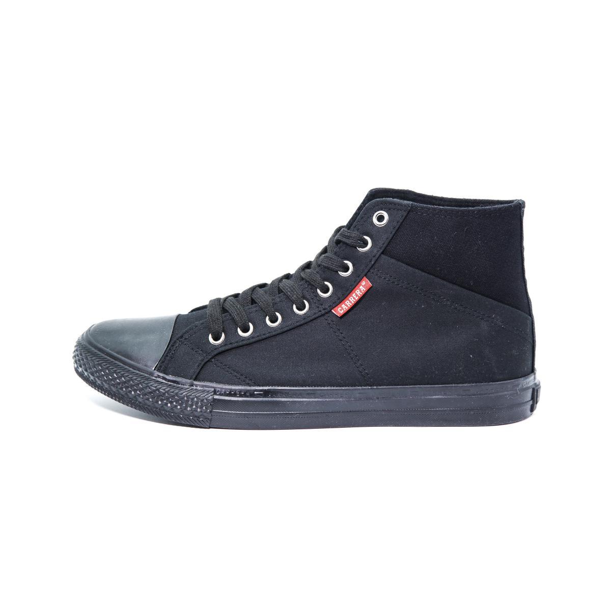 """Scarpe Sneakers """"Carrera"""" Alte Da Ginnastica in Tela Nera da Uomo"""