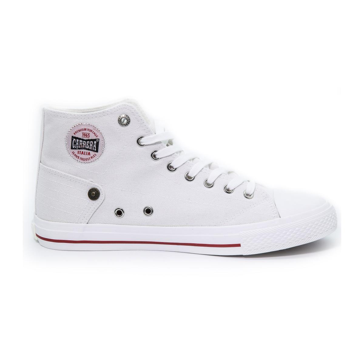 """Scarpe Sneakers """"Carrera"""" Alte Da Ginnastica in Tela Bianca da Uomo"""