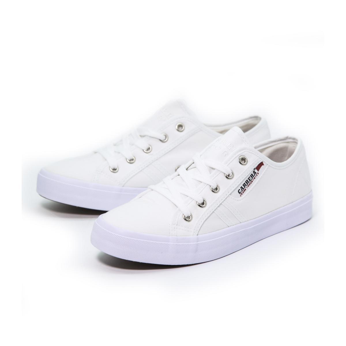 """Scarpe Sneakers """"Carrera"""" Basse Da Ginnastica in Tela Bianca da Donna"""