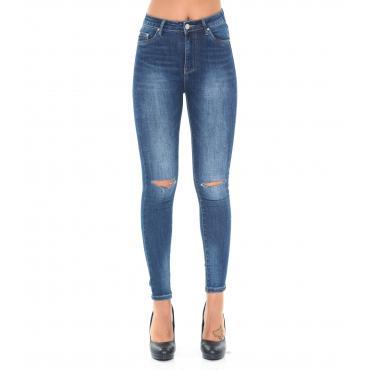 Pantaloni Jeans da donna 5 tasche elasticizzati con strappi alle ginocchia