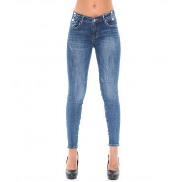 Pantaloni Jeans da donna 5 Tasche con piercing effetto consumato
