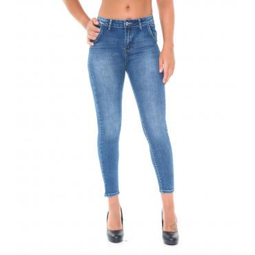 Pantaloni Jeans da donna tasche america slim fit lunghezza alla caviglia