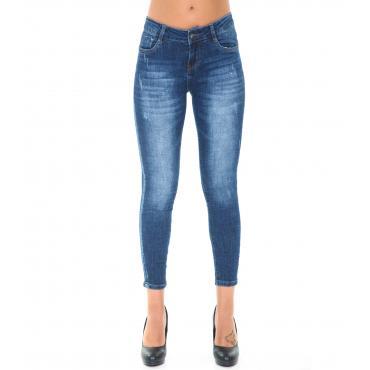Pantaloni Jeans da donna 5 tasche effetto scolorito in cotone elasticizzato