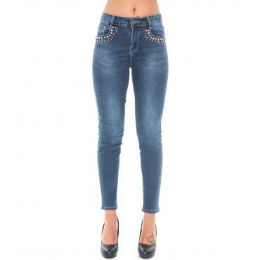 Pantaloni Jeans da donna 5 tasche con decorazioni strass
