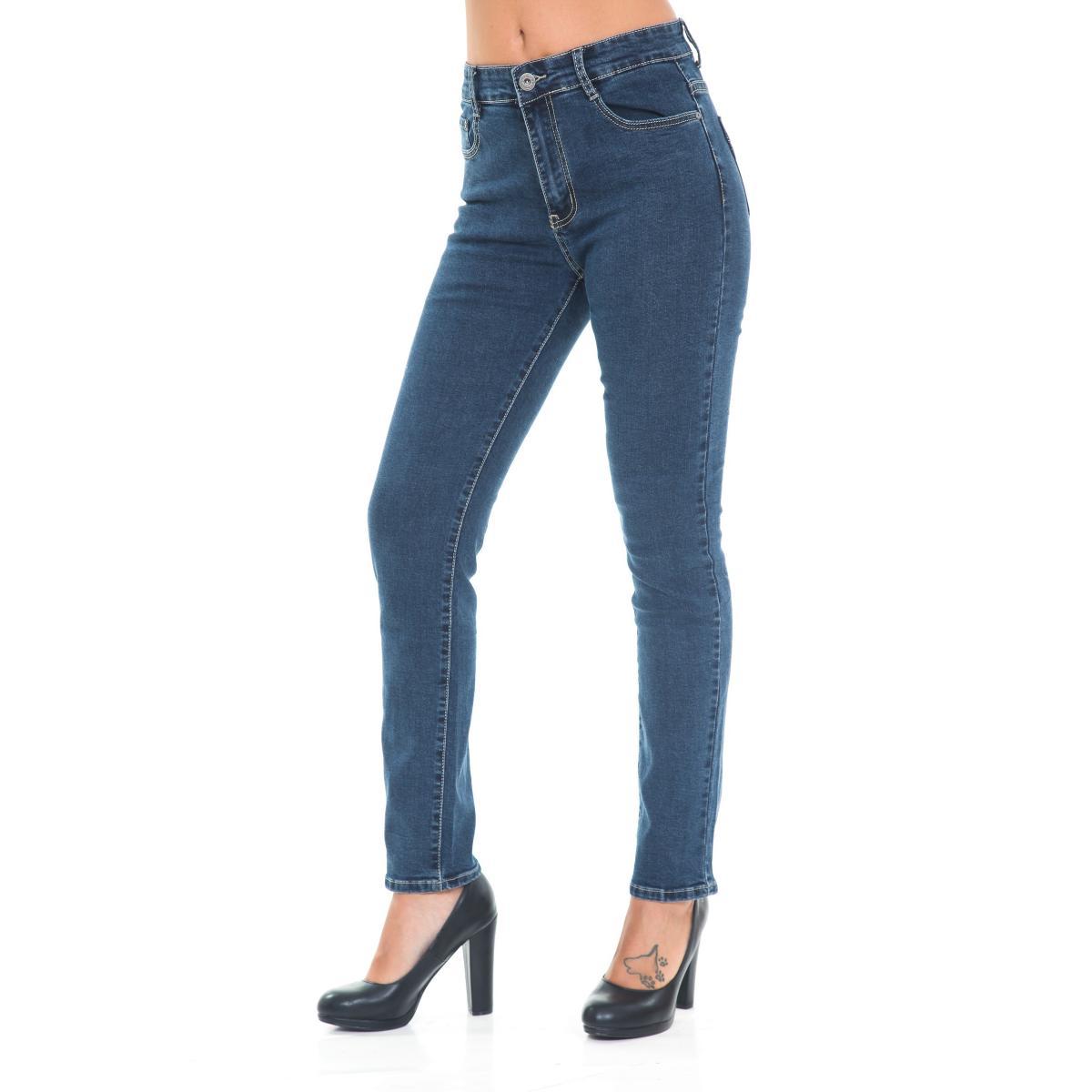 Pantaloni Jeans da donna 5 tasche con strass su tasche taglie oversize