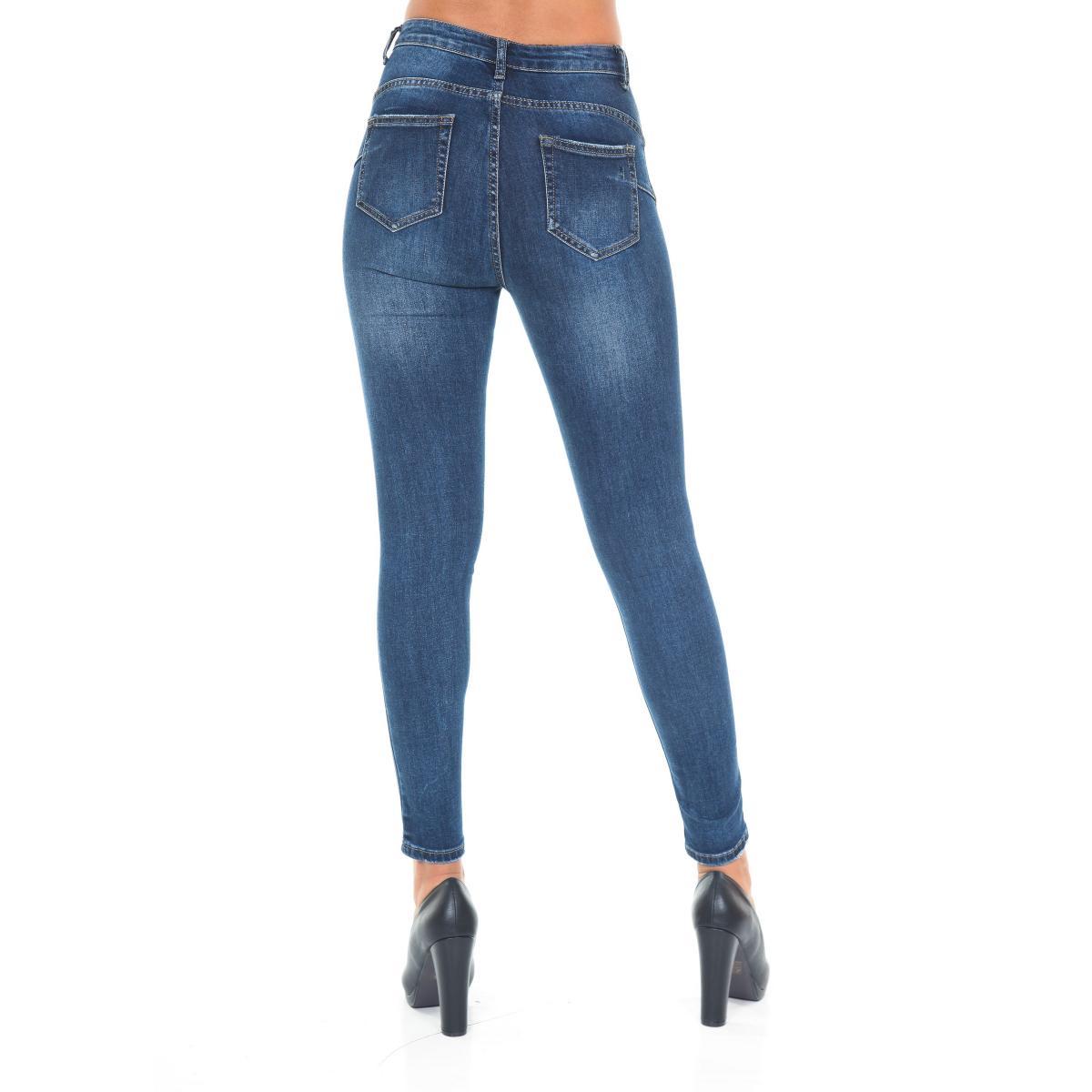 Pantaloni Jeans da donna 5 tasche slim fit stretti lunghezza alle caviglie