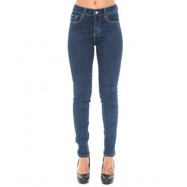 Pantaloni Jeans taglie oversize da donna 5 tasche slim fit