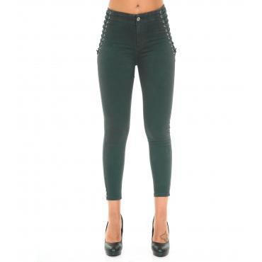 Pantaloni Jeans da donna skinny fit con dettaglio laterale lacci intrecciati