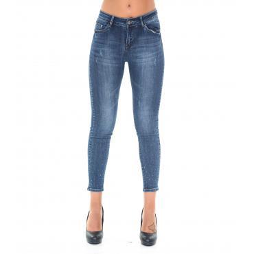 Pantaloni Jeans da donna 5 tasche slim fit con applicazioni strass