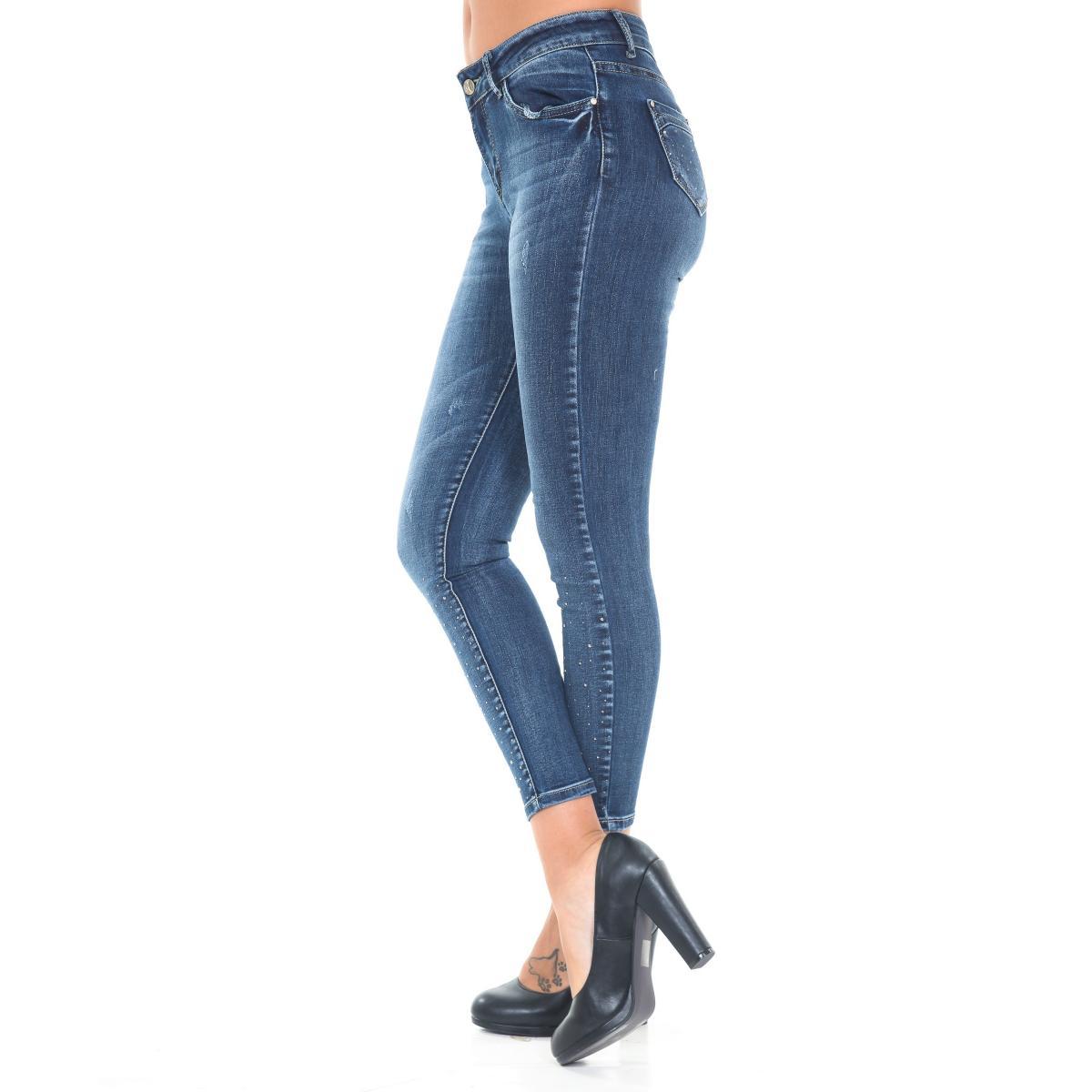 Pantaloni Jeans da donna slim fit 5 tasche con applicazioni strass