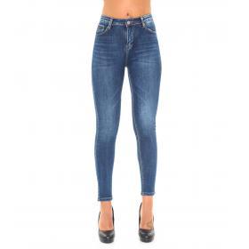 Pantaloni Jeans da donna slim fit 5 tasche lunghezza alle caviglie