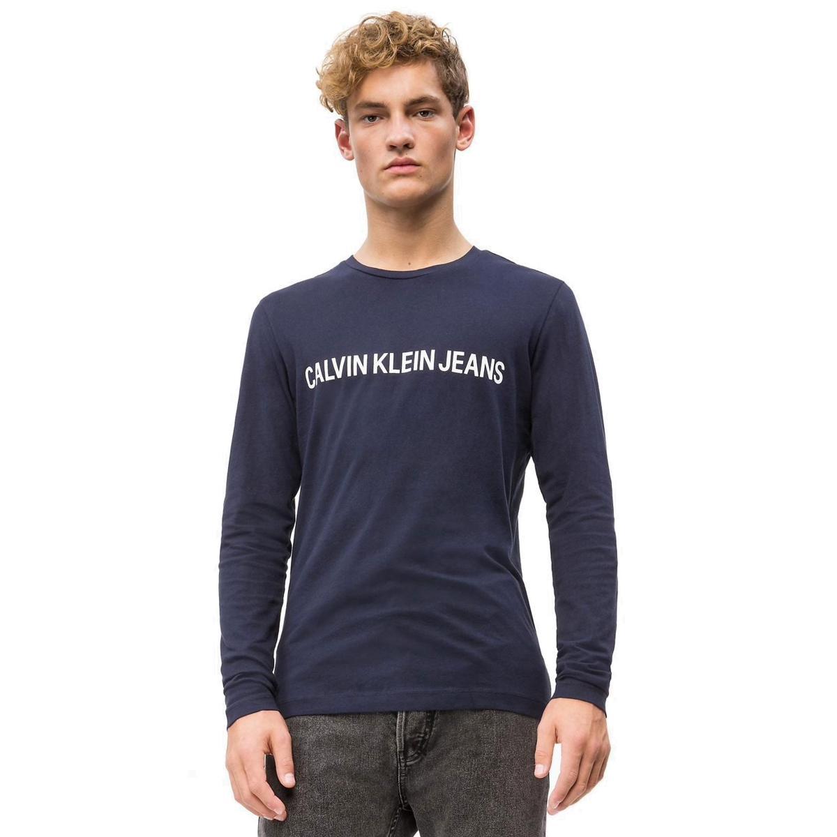 T-shirt slim a maniche lunghe con logo Calvin Klein Jeans da uomo rif. J30J309592
