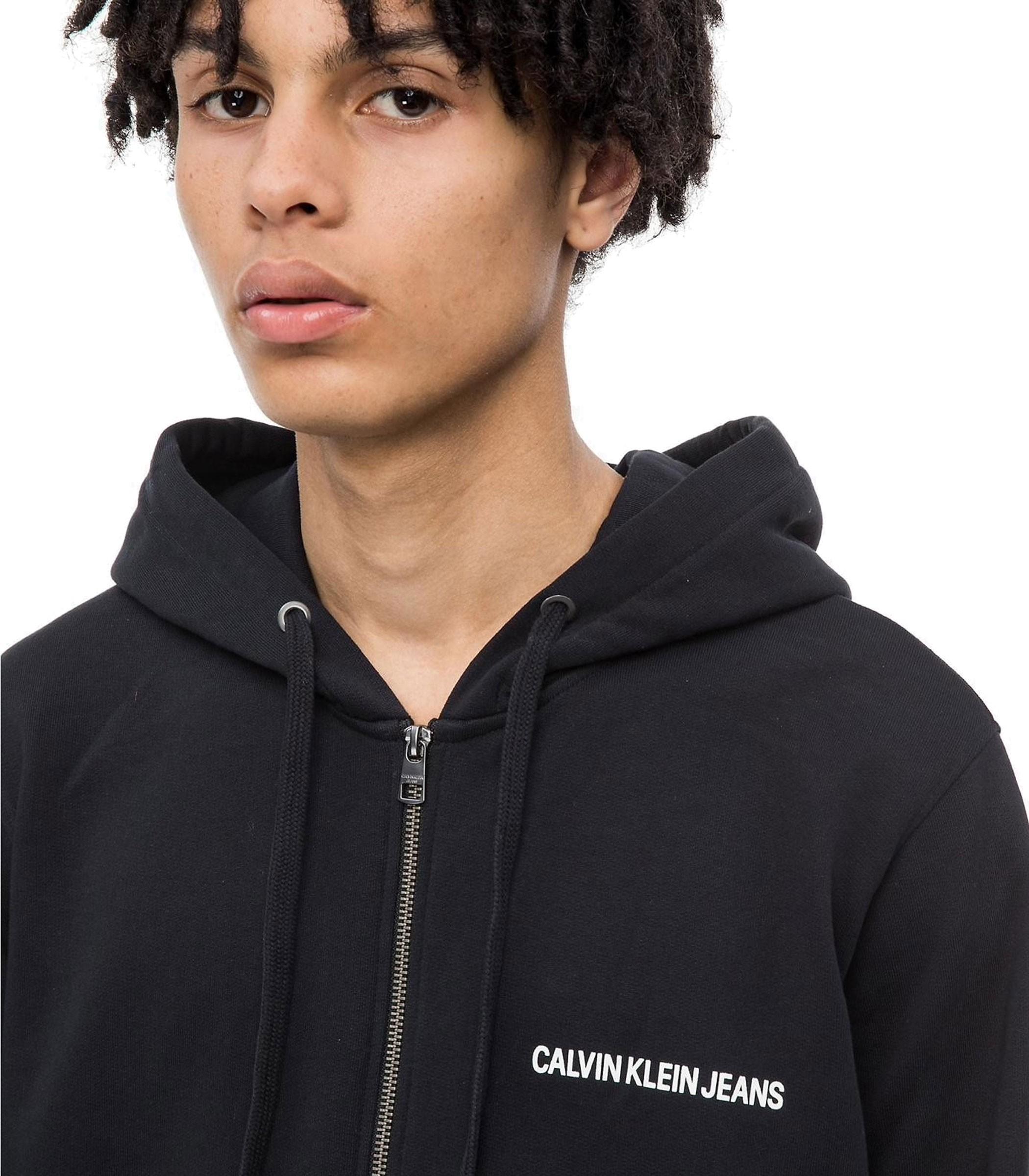 20bcfff3b74393 Felpa con cappuccio e zip Calvin Klein Jeans da uomo rif. J30J309526