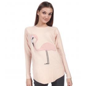 Maglia maglioncino girocollo con fenicottero rosa da donna