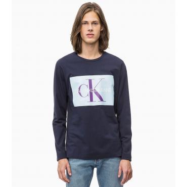 T-shirt a maniche lunghe Calvin Klein Jeans in cotone con stampa logo da uomo rif. J30J309600