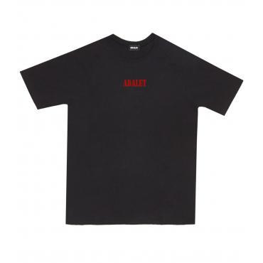 T-shirt girocollo ADALET nera con logo piccolo rosso unisex rif. AD028